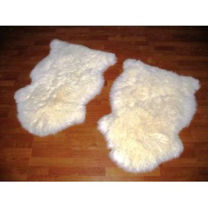 "Two Bowron Single PELT RUGs 24""x36"" (Natural)"